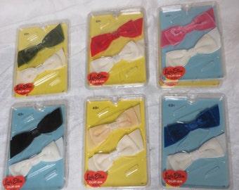 Vintage 1950s 1960s Hair Bows Velvet NIP NOS Deadstock Beehive Bouffant Rockabilly 50s 60s YOU Pick Color 2 Per Pack