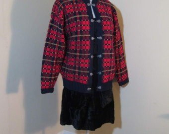 Red Plaid Sweater Scotland Shetland sweater Metal hooks and eyes Vintage Scotland Sweater Red Wool plaid Cardigan Norway style sweater M L