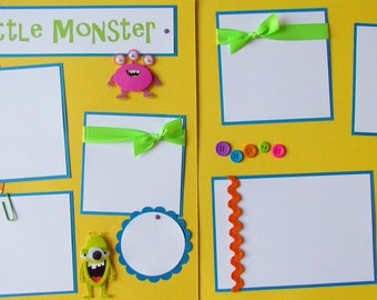 Premade 12x12 Scrapbook Pages -- MY LITTLE MONSTER -- layout for kids boy girl baby - trouble mischief cute funny
