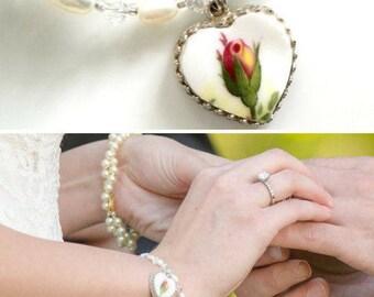 Broken China Jewelry, Wedding Bracelet, Bridal Jewelry, Wedding Accessories, Vintage Wedding, White Pearls, Swarovski Crystals