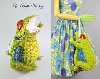 HUGE Novelty Wicker Frog Purse Vintage Convertible Shoulder Bag ~ Custom Creation