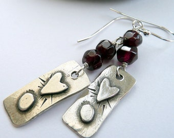 Artisan Hand Cut Garnets Sterling Silver Heart and Moon Charm Boho Goth Valentine Gift for Her OOAK Dangle Earrings