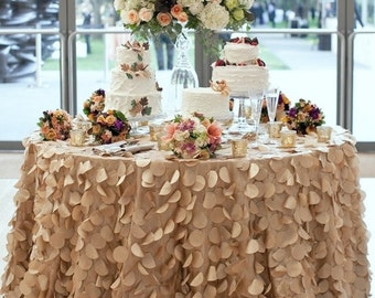 Champagne Round Petal Ruffle Tablecloth, Dessert Table, Cake Table, Wedding, Event, Decor, Romantic Wedding