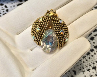 Pretty Vintage Rhinestone Lady BUG insect bugs pin brooch