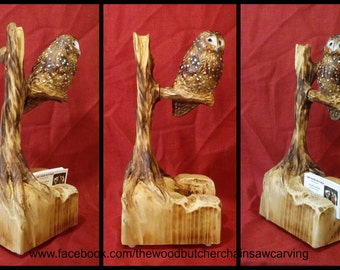 Chainsaw Carved Spotted Owl Business Card Holder