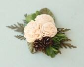 Woodland christmas hair clip, Rustic bridal hair accessory, Christmas hair clip, Pine cone and cedar clip, Sola floral hair accessory