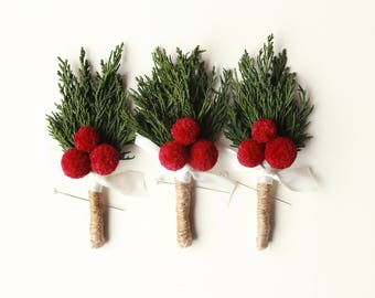Wedding boutonniere, Winter wedding, Billy button, Red craspedia berry, groomsmen button hole, Woodland rustic, Holiday wedding  (1 bout)