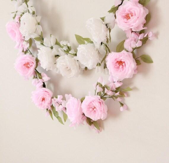 Rose flower garland, Floral home decor, Silk floral wall hanging, Wedding backdrop, Nursery decoration, Pink or white rose, Wedding garland