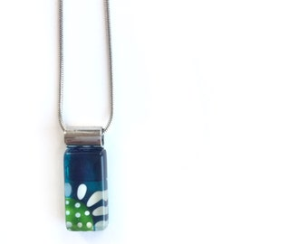 Teal necklace, flower necklace, daisy necklace, stainless steel, handpainted glass by azurine