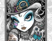 Set 4 - 15 Pages - FREE US SHIPPING - Steampunk Beauties - Myka Jelina - Fantasy Art - Grayscale - Adult Coloring Pages - Fairy Coloring