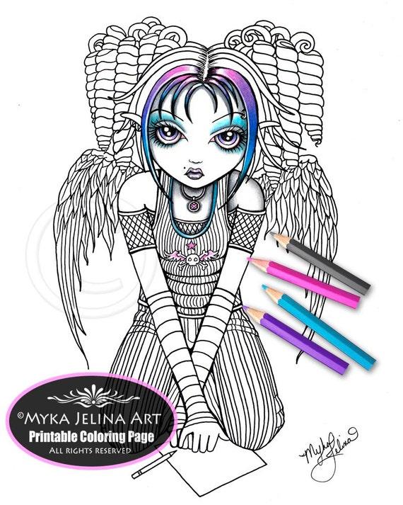 myka jelina coloring pages ariel angel digital download coloring page myka jelina art