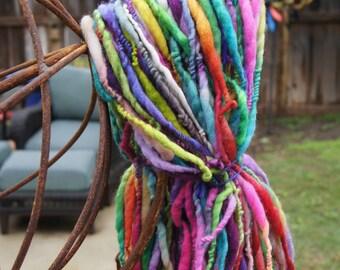 Handspun Yarn -  Handspun Art Yarn - Handspun SLUB yarn - Thick and Thin Yarn - Multi-Colored Rainbow - BULKY Yarn - 5.4 oz