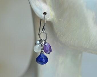 Lapis Lazuli Earrings - Purple Blue Earrings - CZ Earrings - Oxidized Sterling Silver Link Earrings - Dangle Earrings - Sparkle Earrings