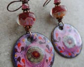 RESERVED At First Sight ... Artisan-Made Lampwork and Enameled Copper Wire-Wrapped Rustic, Boho, Abstract Earrings