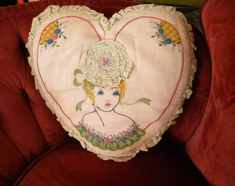 Antique Heart Shaped Boudoir Pillow with Pretty Lady Embroidered on Front