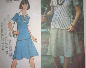 Vintage 70s Sewing Pattern Simplicity 6444 Two Piece Dress Top and Skirt for Knit Fabrics