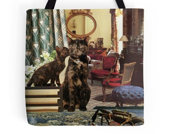 Tote Bag - Cancer StarCat - zodiac astrological collage art for the cat lover