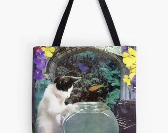 Tote Bag - Pisces StarCat - zodiac astrological collage art - cat lover gift, February March birthday