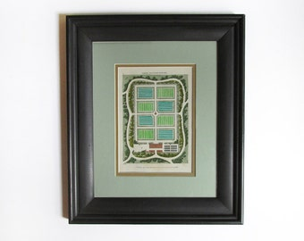 1850s French Garden Plan. Framed Antique Engraving – Artisan Framed Original Print.