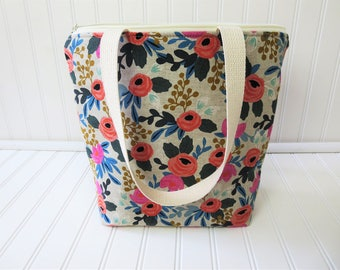 Insulated Lunch Tote - Lunch Bag - Deluxe Lunch Tote - Lunch Tote Bag - Large Lunch Tote - Gift for Her - Floral Lunch Tote