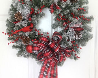 Christmas Wreath for front door , Holiday wreath, woodland wreath, Christmas decor, xmas wreath, Christmas decorations, plaid bow, cardinals
