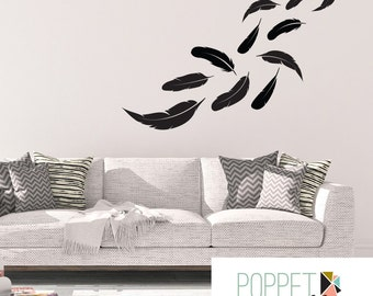 Feathers Wall Decal - Modern Bedroom Apartment Dorm Room Wall Sticker - Floating Feathers Decor - CN126