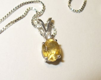 Gem Quality Calcite in Solid Sterling Silver Pendant Necklace -  Genuine, Natural and Unusual Gemstone!