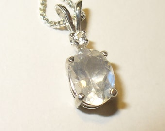 Faceted Moonstone Pendant Necklace - Beautiful Genuine Gemstone in Solid Sterling Silver