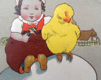 Vintage Raphael Tuck & Sons Easter Postcard Baby with Chick
