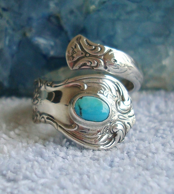 Vintage Turquoise Towle Sterling Silver Spoon Ring Old Master   dmfsparkles