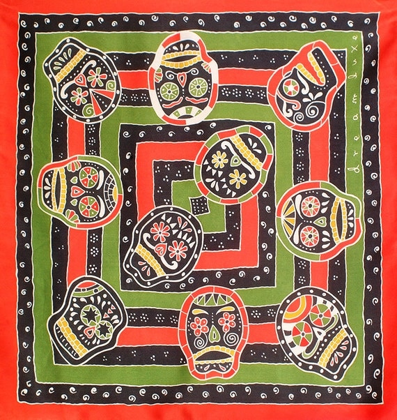 Day of the dead skulls hand painted silk scarf unique gift for her