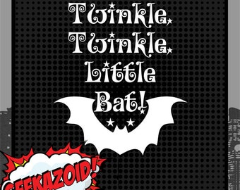 Twinkle Twinkle Little Bat - Large Vinyl Decal - Alice in Wonderland Lewis Carroll Die Cut Wall Art Bottle Quote Eat Me All Mad Mad Hatter