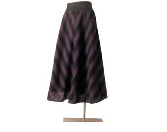 Vintage 80s Skirt - Pierre Cardin - 80s Pierre Cardin - Pierre Cardin Skirt - Purple Black - Bias Striped Skirt - A-Line Skirt - High Waist