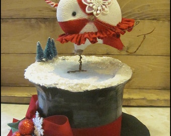 Christmas Snowman Hat Peppermint ice skater Holly red winter centerpiece candy Holiday Whimsical cottage chic Primitive hafair ofg team faap