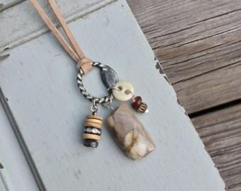 Foundry Necklace with Ocean Jasper | Sterling Silver Bone Button Rhinestone | Statement Jewelry