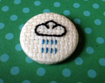 Cross Stitch Rain Cloud Pin Badge