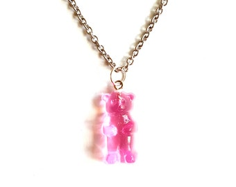 Gummy Bear Necklace, Candy Necklace, Pink Gummy Candy Jewelry, Miniature Food Jewelry, Kawaii Pastel Goth Jewelry