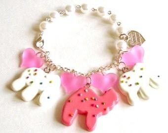 Frosted Animal Cookie Bracelet Pink Animal Cracker Charm Bracelet Pink Pastel Candy Bracelet Kawaii Jewelry Mini Food Jewelry