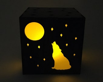 Wolf Candle Box, Wood Lantern, Wolf Lantern, Candle Votive, LED Candle, Tea Light, Home Decor, Wolf Light Box, Wolf Nightlight, Gift For Her