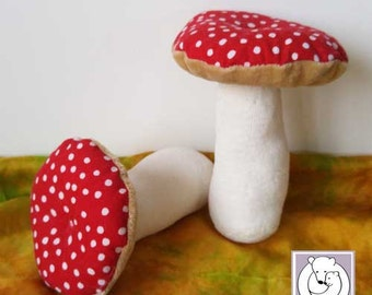 Waldorf Nature Table Mushroom 6 inch, Soft Toy made from Natural Materials