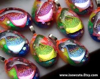Girl Easter Egg, Bunny Necklace for Girls, Rainbow Glitter Easter Rabbit, Gift for Girls, Bunny Resin Jewelry by isewcute for Springtime