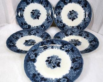 "Adams Flow Blue Wild Rose Pattern - Set of 5 Plates 8-7/8"" Diameter"