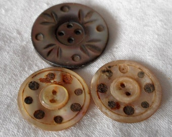 Lot of 3 VINTAGE Mirror & Carved Iridescent Shell Sew Thru as is BUTTONS