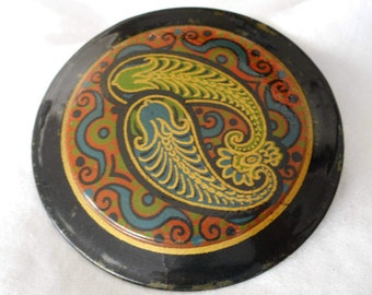Very Large VINTAGE Painted Paisley Swirl Metal Slide Belt Buckle