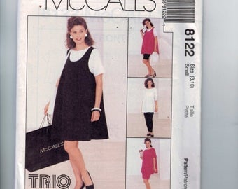 Misses Sewing Pattern McCalls 8122 Maternity Dress Tank Top Pull on Pants Shirt Shorts Skirt Stretch Knit Size 8 10 Bust 31 32 UNCUT