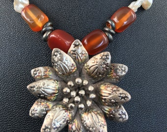 Sterling Silver Flower Pendant with Keishi Cornflake Pearls Red Agate and Red/Orange Quartz Beaded Necklace