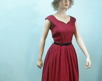 50s 60s Dress . Vintage Red & Black Checked Rhinestone Bodice Full Skirt Dress . XS S