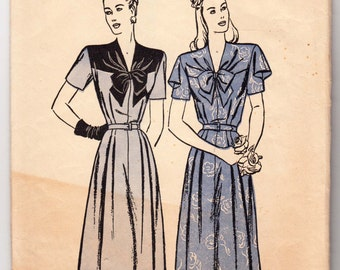 """Vintage Sewing Pattern 1930's Ladies' Short Sleeve Dress Butterick 3822 36"""" Bust - Free Pattern Grading E-book Included"""