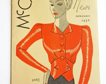 1930's Vintage Sewing Pattern Catalog Booklet McCall Style News January, 1937 ORIGINAL