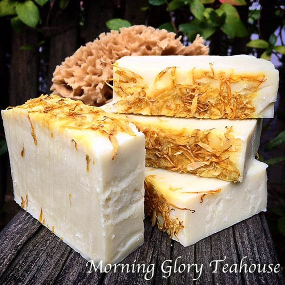 Calendula & Sweet Orange Bar Soap, Calendula-Infused Olive Oil, Calendula Petals, Handmade Cold Process Soap, Gentle with Creamy Lather